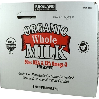 Picture of Kirkland Signature Organic Whole Milk with Omega 3